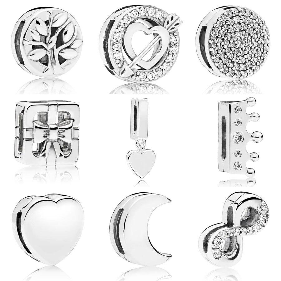 Plata de Ley 925 auténtica reflexiones Árbol de la vida encanto ajuste pandora Reflexions pulsera deslumbrante clip elegante encanto DIY joyería