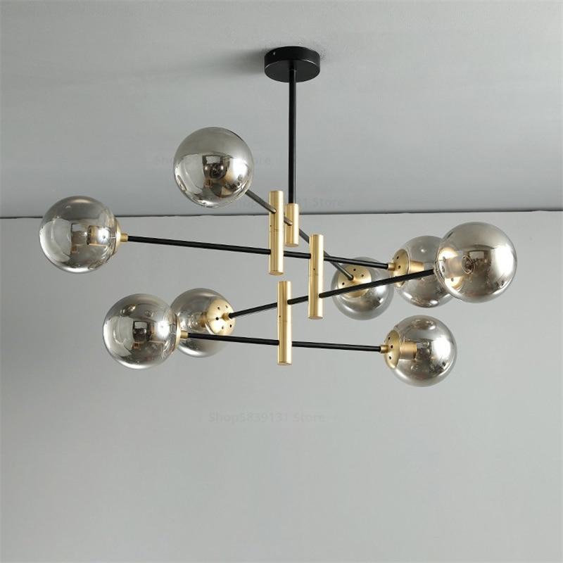 مصباح سقف Led معلق على الطراز الاسكندنافي مع كرة زجاجية ، تصميم حديث ومبتكر ، إضاءة داخلية زخرفية ، مثالي لغرفة المعيشة أو المطبخ.