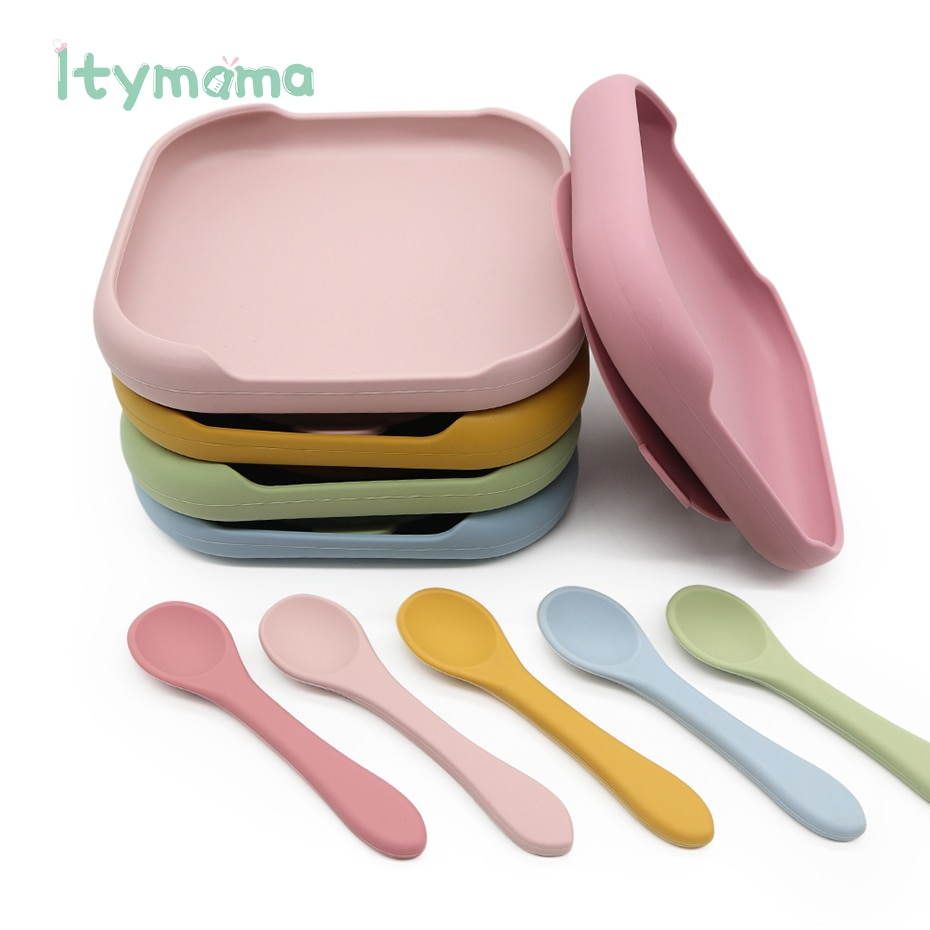 Baby Silikon Fütterung Platte Platos Set Baby Lätzchen Suite Modische kinder Gerichte Schüssel Baby Geschirr BPA FREI Baby Platte