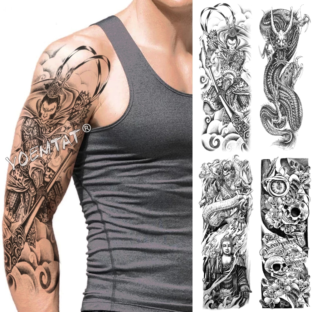 Tatuaje de manga de brazo grande de mono King Warrior resistente al agua tatuaje temporal falso calcomanía de tatuo calavera hombres japoneses mujeres tótem completo Tatto