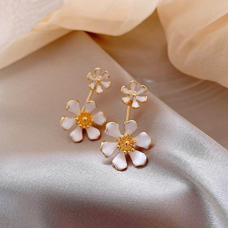 2020 Новые цветочные Лепестковые серьги для женщин дизайн спереди и сзади Роскошные ювелирные изделия оптом многофункциональные