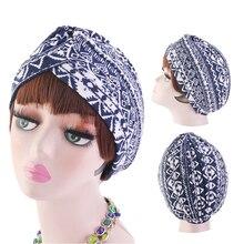 Estampado de moda gorros interiores para gorro hijab frente Cruz algodón turbante musulmán África envoltura cabeza bufanda hijab islámico turbante