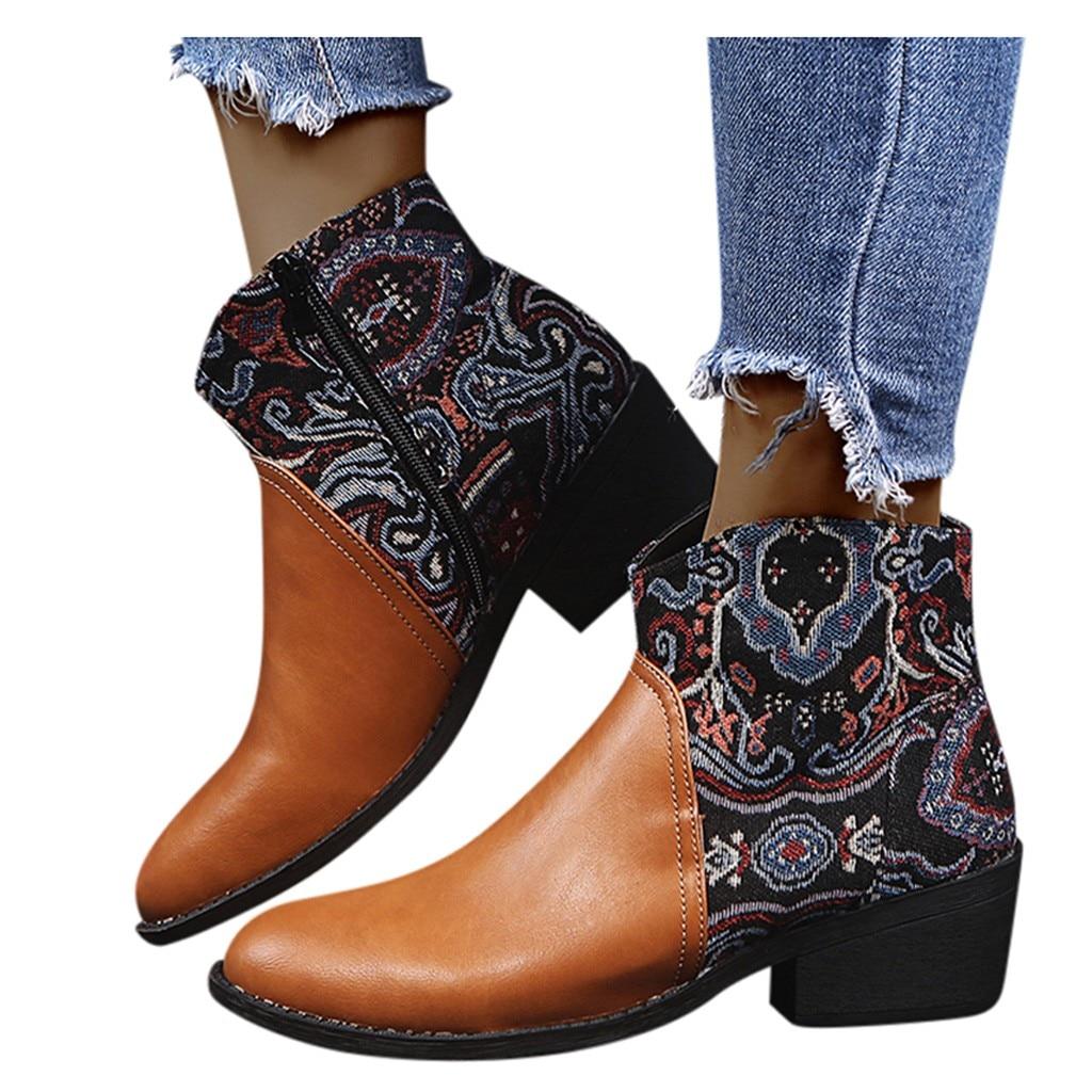 Suqare-Botas bordadas con Tacones con cremallera para mujer, botines bajos informales de...