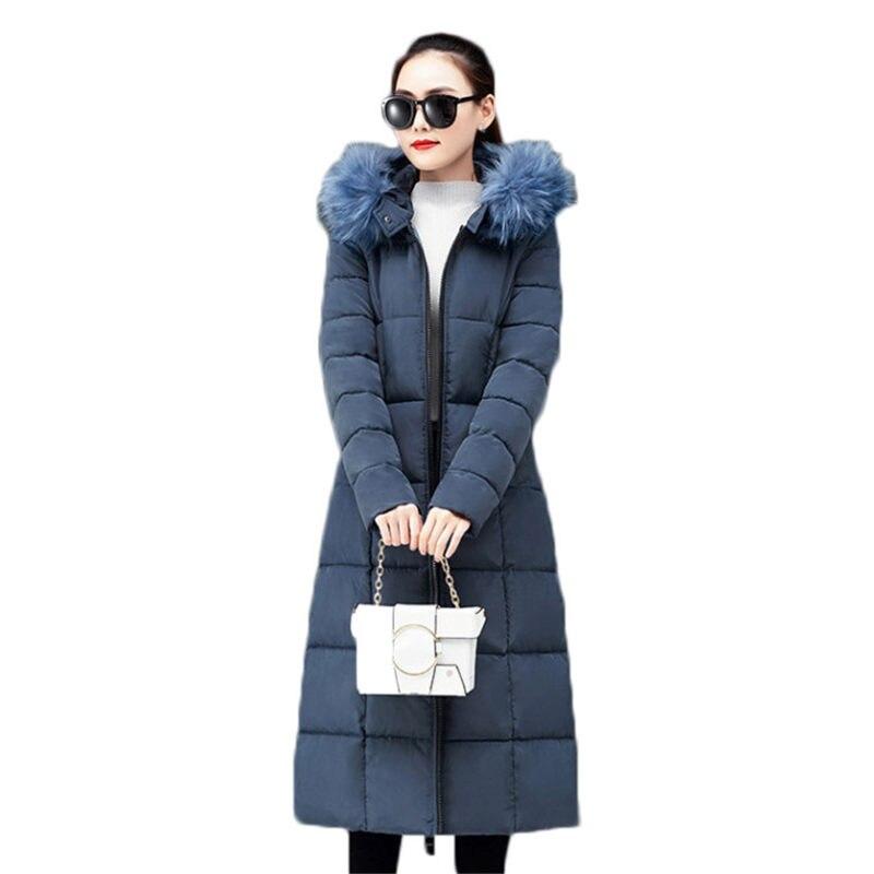 Sólidos Casual Casaco de Inverno Para As Mulheres Gola De Pele Com Capuz Casaco Longo Engrossar Algodão Quente Acolchoado Parka Outwear Plus Size 4XL f1581
