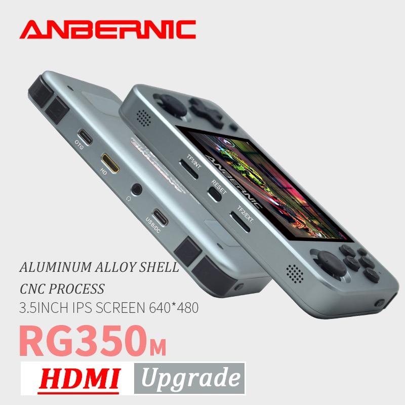 ANBERNIC RG350M Retro oyunları alüminyum alaşımlı IPS ekran PS1 hediye Video oyun konsolu emülatör el oyun oyuncu RG350 HDMI com