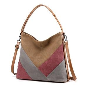 New Fashion Retro Large Women's Canvas Patchwork Tote Shoulder Bag Ladies High Quality Fabric Handbags Trendy Shopper Bag Female