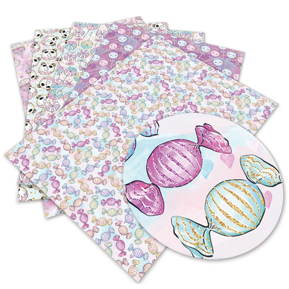 30*136cm 1 ud. Hoja estampada de flores de tela de piel sintética falsa para costura textil para el hogar DIY lazos para el cabello L2066