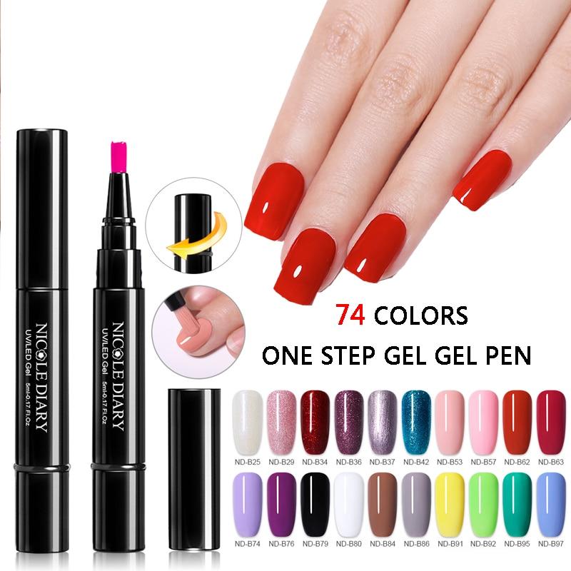 Nicole Dagboek Een Stap Gel Nagellak Pen Glitter Geen Behoefte Top Base 3 In 1 Uv Gel Glitter Polish groothandel