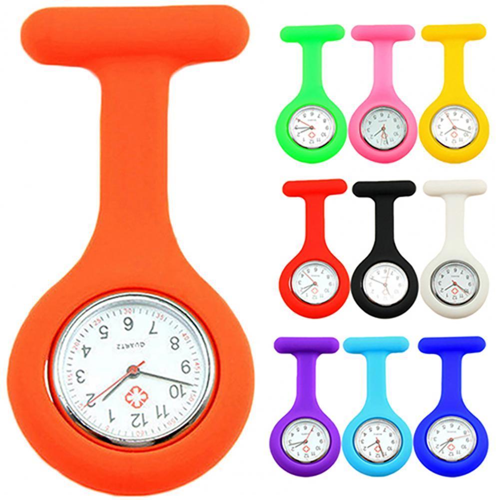 New Solid Color Clip-Ons Analog Digital Brooch Fob Medical Nurse Pocket Watch Gift Batteries Medical
