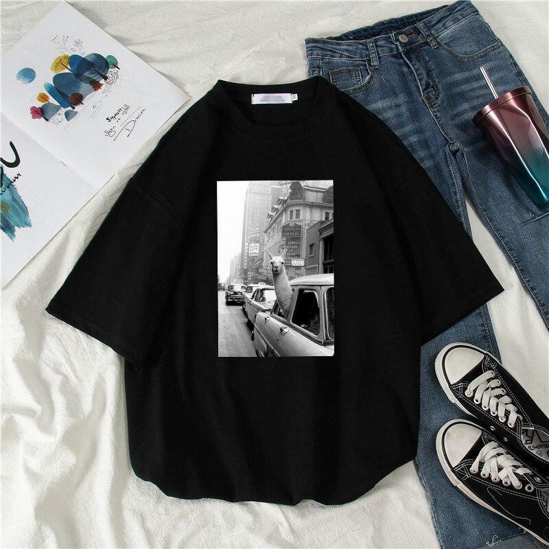 Llama In A Taxi On Times Square Printed Fashion Short Sleeve Cartoon Tops Tees Summer INS Casual O-Neck Harajuku Unisex T-Shirt