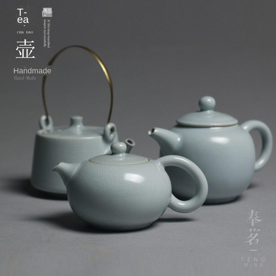Ru tetera de cerámica para el hogar, juego de té de Kung Fu, tetera con asa de bucle, tetera, juego de té Ru Kiln, tetera Siteel
