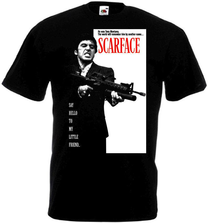 Scarface Al Pacino película póster hombres camisetas Hip Hop ropa camiseta gimnasio camisetas negro de blanco 016400