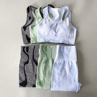 2 шт./компл., камуфляжный комплект для йоги, спортивная одежда для женщин, спортивная одежда для фитнеса, Леггинсы для йоги + спортивный бюстг...
