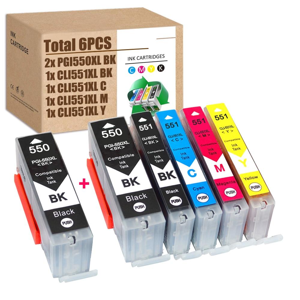 550XL 551XL Ink Cartridges Compatible for Canon PGI550XL CLI551XL iX6850 iP7250 MG5450 iP8750 MG7550 MX925 MG6350 MG6650 MG6450 6 pack pgi 550 cli551xl ink cartridge compatible for canon pixma ip7250 mg5450 mx925 mg5550 mg6450 mg5650 mg6650 ix6850 mx725