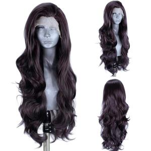 Ebingoo High temperature Fiber Black Grey Synthetic Lace Front Wig with Baby Hair Long Water Wave Futura Wig for Women