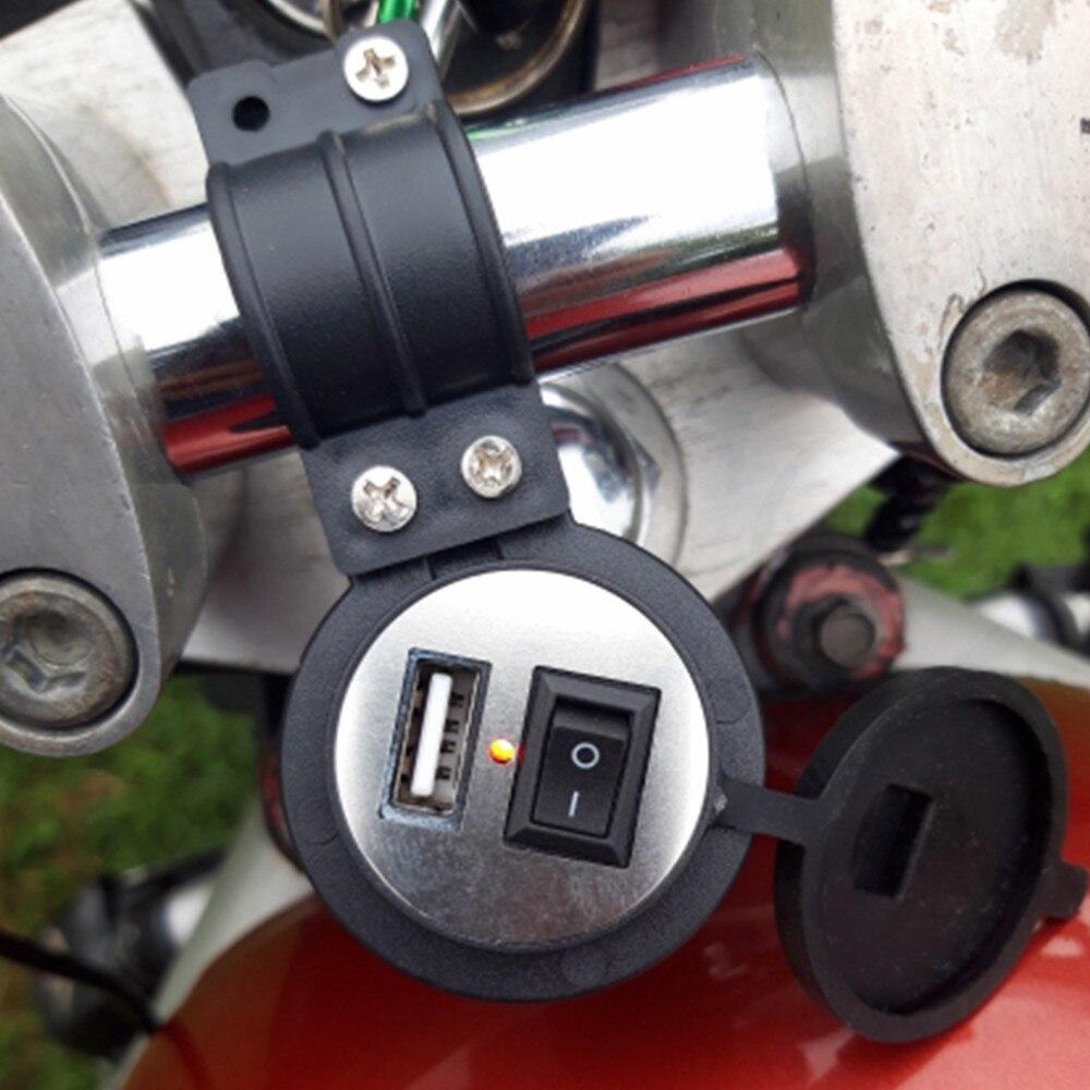 Cargador de coche USB para motocicleta DC 12V-24V con enchufe de interruptor cargador de teléfono impermeable para BMW F800GT F800S F800ST F800R