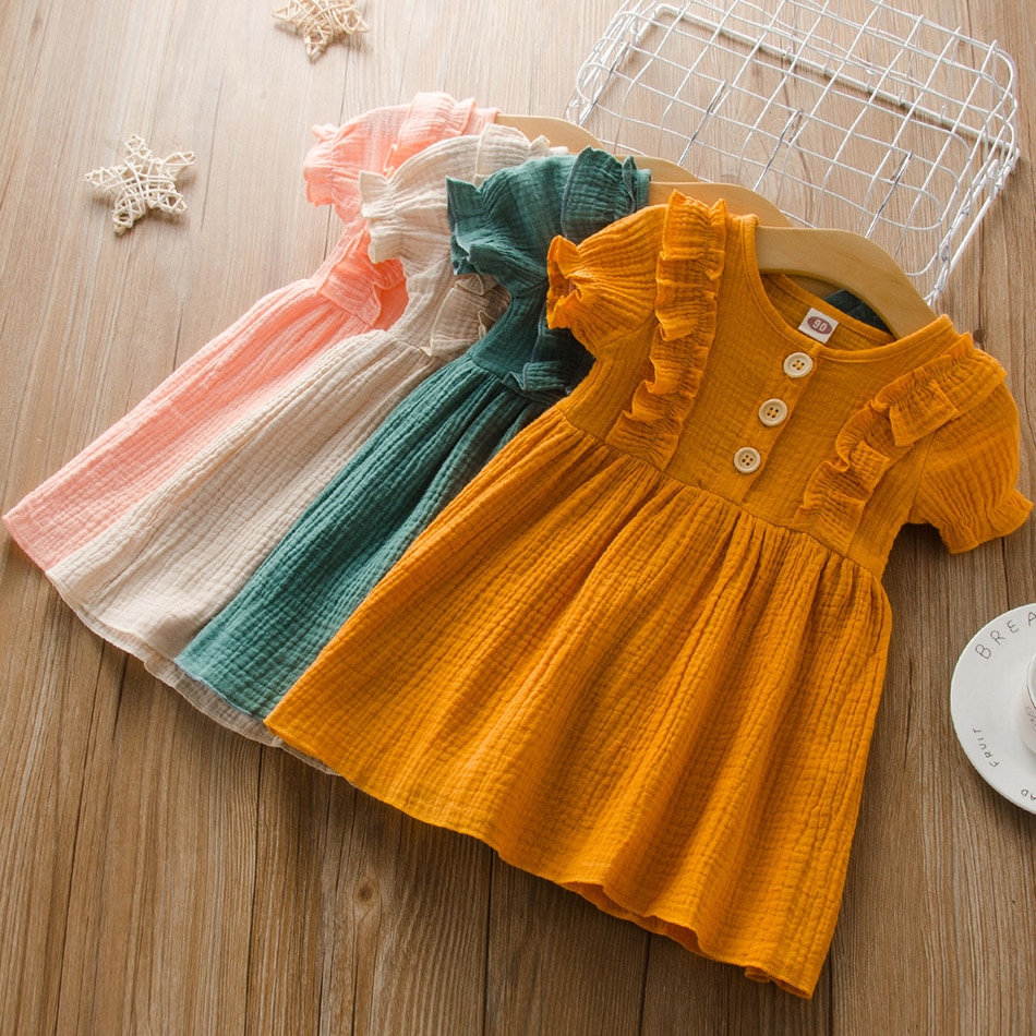 Summer Children's Clothing for Girls Dress Solid Short Sleeve Dresses Infant Baby Girls Casual Daily Outfits Kids Clothes 2-7Y