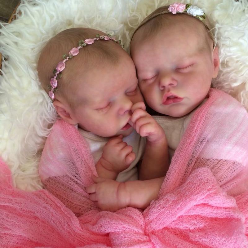 RBG Bebe Reborn Kit 17 Inches Reborn Baby Vinyl Kit Twin A Twin B Unpainted Unfinished Doll Parts DIY Blank Reborn Doll Kit