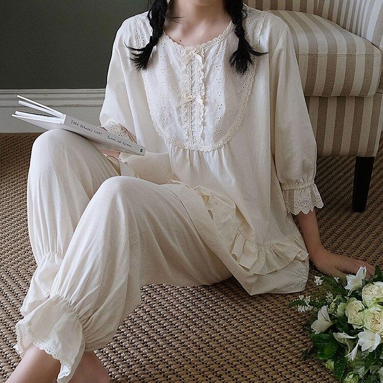 Женская пижама с принцессой футболка с длинными рукавами + штаны. В винтажном стиле; Женские высококачественные туфли на высоком каблуке с двойной креп ткань пижамный комплект, ночное белье, в викторианском стиле для девочек; Домашняя одежда для сна; Ночная одежда