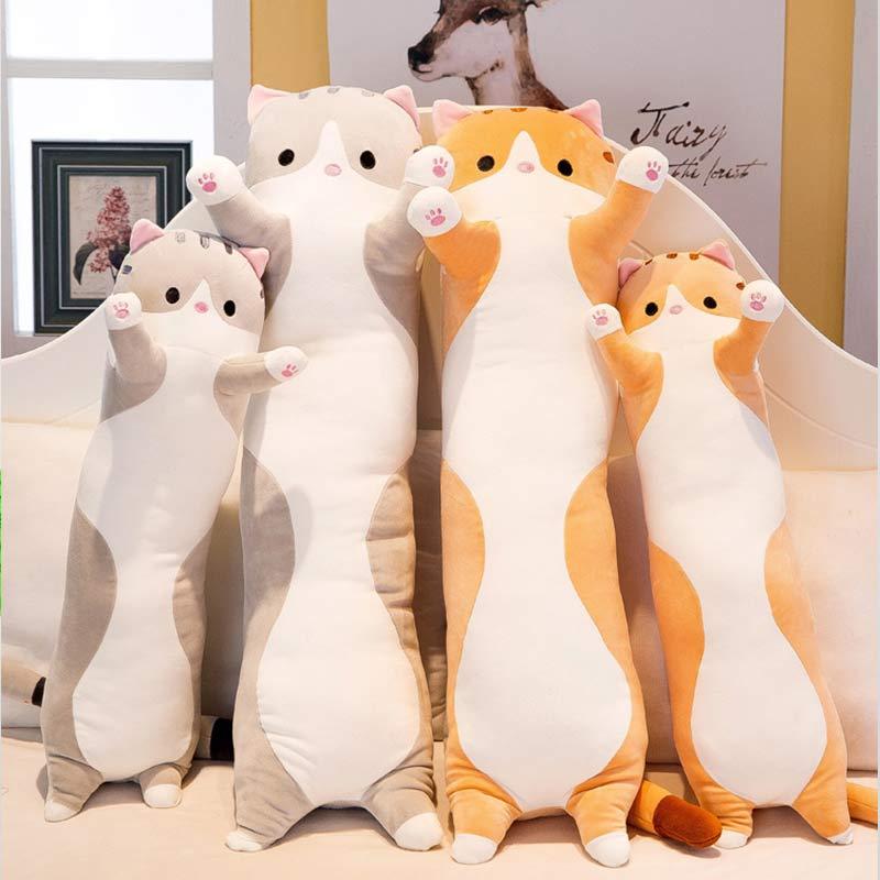 Модная длинная плюшевая подушка для сна с милым котом, детская подушка для колен, Almofada Coussin Overwatch Cojines Decorativos, подушка для сиденья