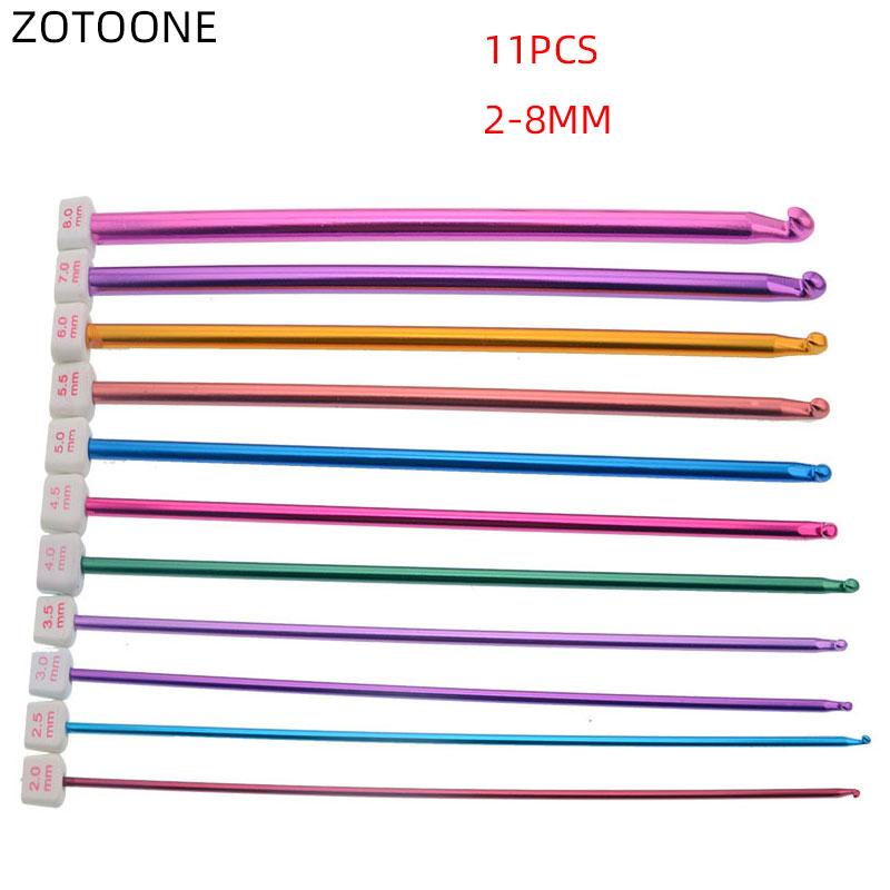 11 ferramentas de crochê coloridas do tamanho/conjunto para a agulha da camisola com grânulos 2-8mm diy alumina tricô crochê para acessórios de costura do laço d