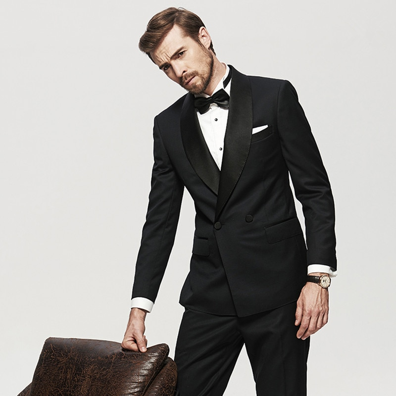Handsome Double-Breasted Groomsmen Shawl Lapel Groom Tuxedos  Men Suits Wedding/Prom/Dinner Best Blazer(Jacket+Pants+Tie) 013