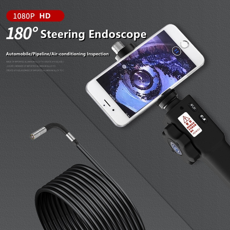 180° Two Way Articulate Steering Industrial  Endoscope Camera with 4.5''IPS 1080P Screen Borescope Car Inspection 1M Snake Tube