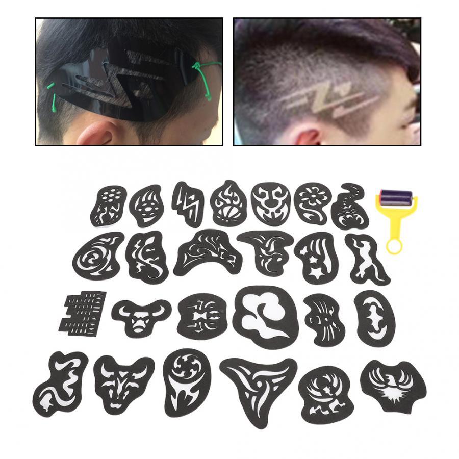 Plantilla para tatuajes de cabello profesional 25 uds., plantilla para tallar el color, plantilla para el cabello, tatuaje con estilo, pegatinas, accesorios BeautySalon