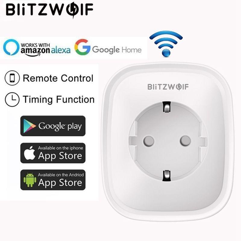 BlitzWolf BW-SHP5, WIFI, умная розетка для дома, штепсельная вилка ЕС, 2.1A, два USB порта, 16A, работает с Amazon Alexa Google Assistant IFTTT Tuya APP