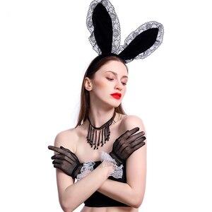Повязка на голову с кроличьими Сексуальная Кружевная Повязка на голову на Пасху, женские привлекательные полусапожки ободок с заячьими ушами с заячьими ушками и Повязка на голову для вечерние Косплэй