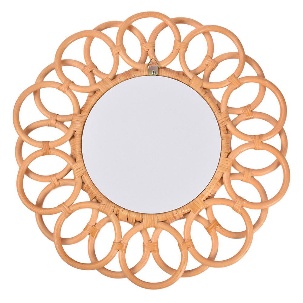 Espelho de Maquiagem Espelho de Parede para Liv Rattan Inovador Arte Decoração Redonda Vestir Banheiro Parede Pendurado Espelho Decorativo