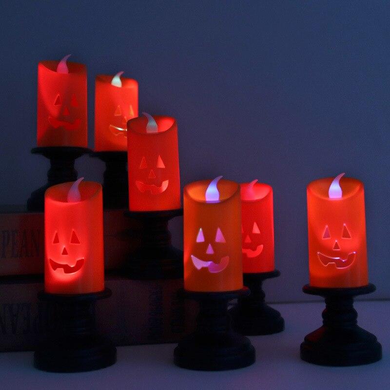 3/5 шт. Хэллоуин светильник свет Хэллоуин Свеча светодиодная цветная подсвечник Тыква фонарь для вечеринки декор светильник Ник свет
