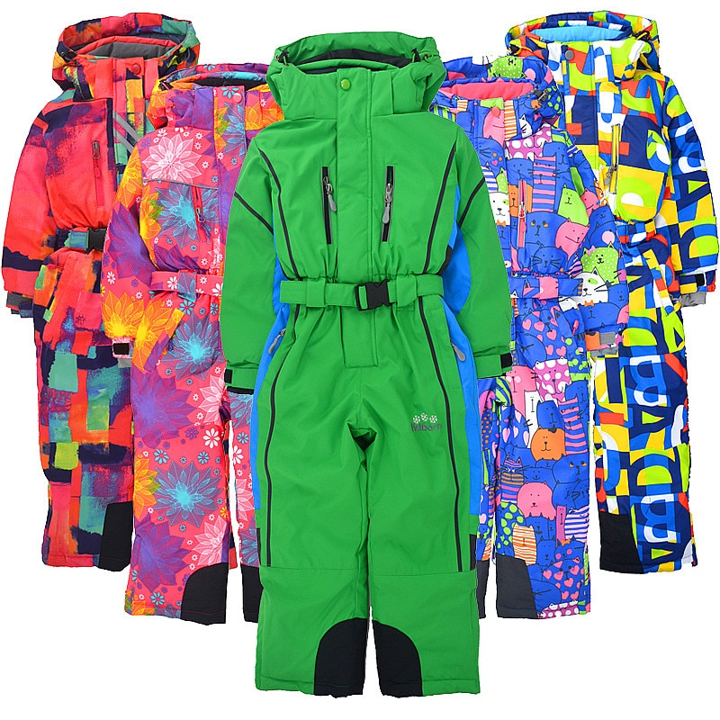 Children's winter outdoor one-piece ski suit windproof and snow-proof water plus velvet thickening snow ski equipment coverall