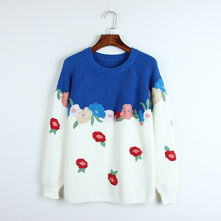 2020 Spring Sweater Free Shipping Fashion Womens Clothes Black Blue Kint Crew Neck Long Sleeve      DL