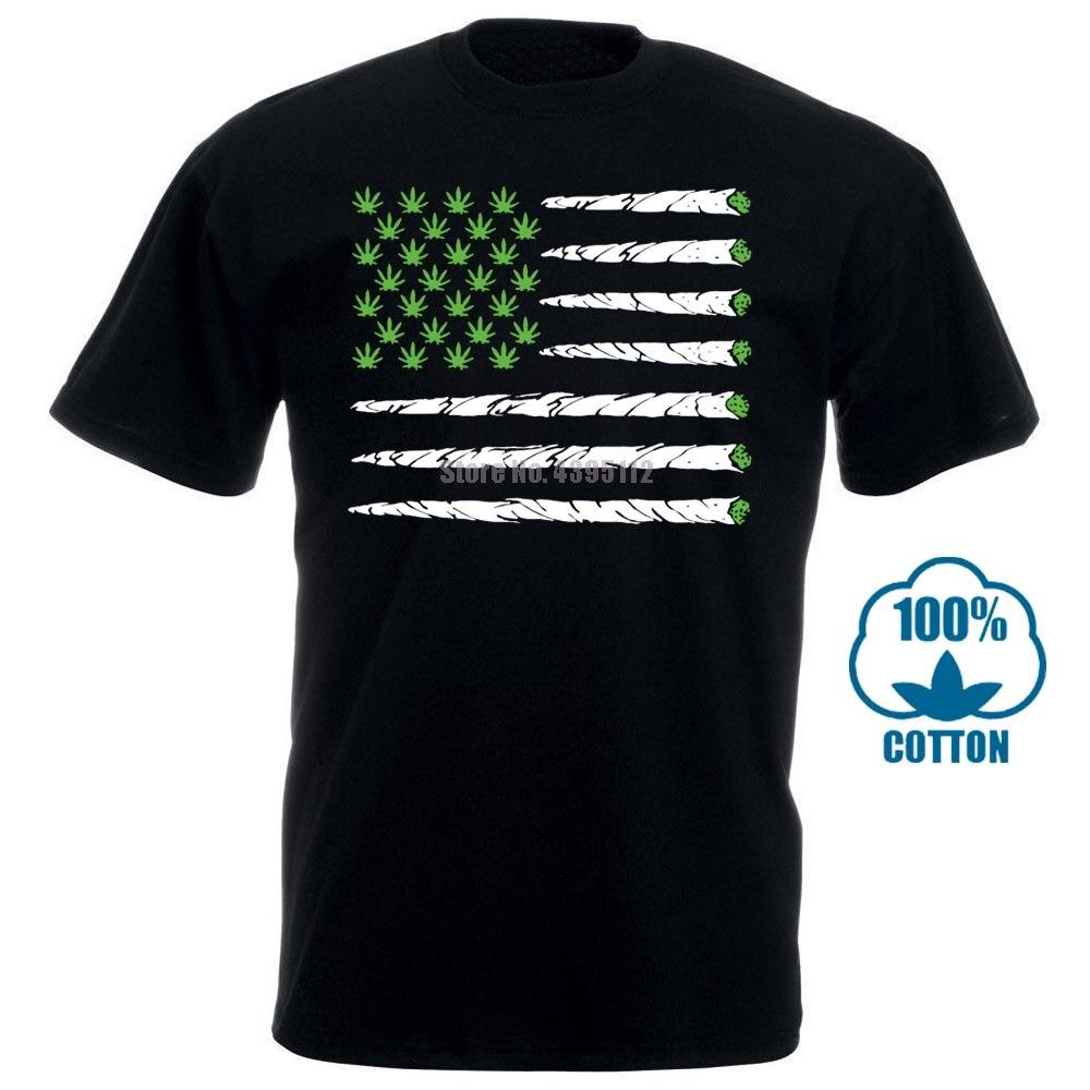 Camiseta negra con bandera de hierba 420 Stoner Humor Bud Kush Chronic todas las tallas S 3Xl algodón de alta calidad Casual hombres camisetas gratis