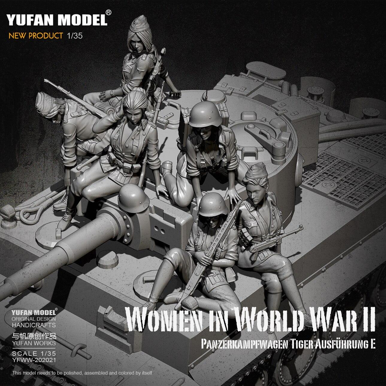 1/35 Resin Figure Kits German female tank soldier Model self-assembled(6 sets) YFWW-2065