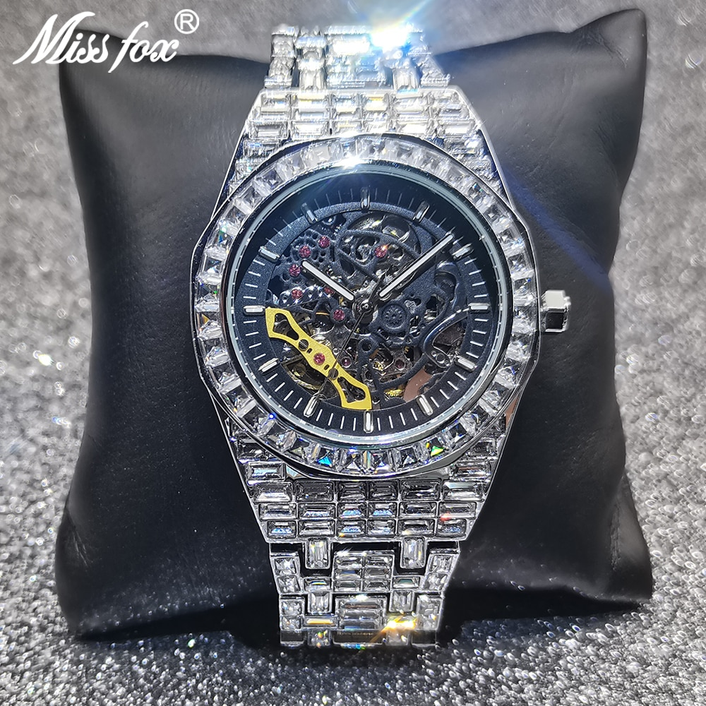 Hollow Hip Hop MISSFOX Mens Watches Automatic Mechanical Iced Out Silver Square AAA Diamond Watch High-end Bling Luxury Clocks