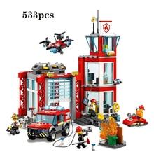 Nieuwe Stad Serie Speelgoed Bakstenen Fire Station Compatibel Met Lepining Stad Bouwstenen Figuur Voor Kinderen Kerst Cadeau