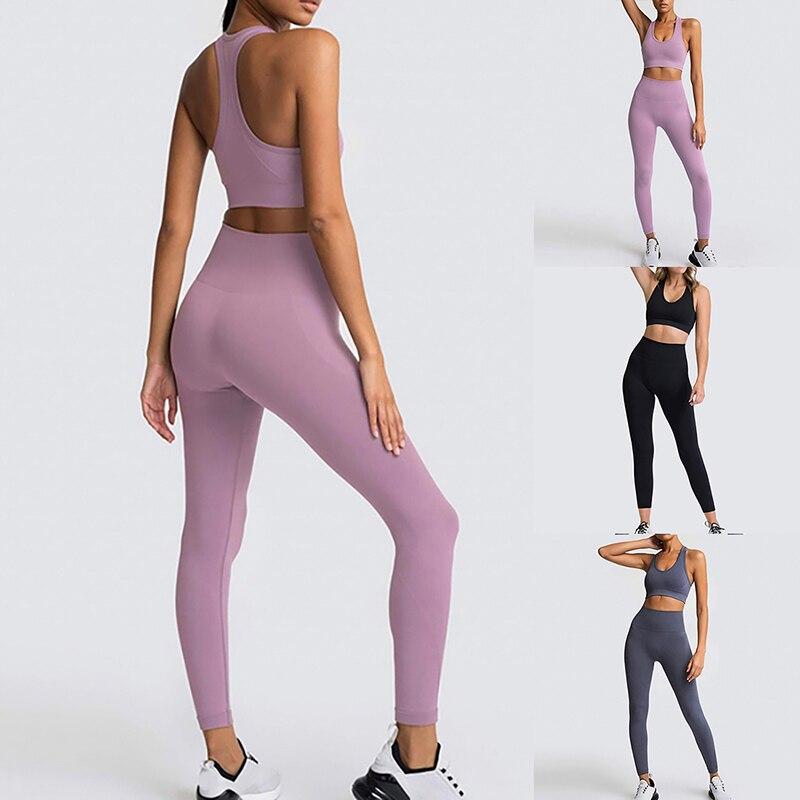 Mulheres sem costura conjunto de yoga esportes ginásio conjunto colheita sutiã superior almofada elástica cintura alta yoga pant sólido yoga outfit conjunto de fitness ginásio roupas