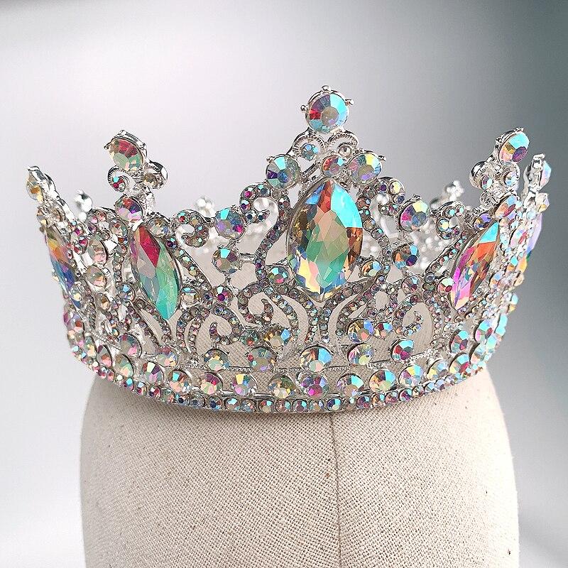 Moda Prata AB Coroas Tiara de Cristal Rainha Princesa Diadema Nupcial Rodada Crown Jóias Cabelo Para As Mulheres de Casamento Acessórios Para o Cabelo