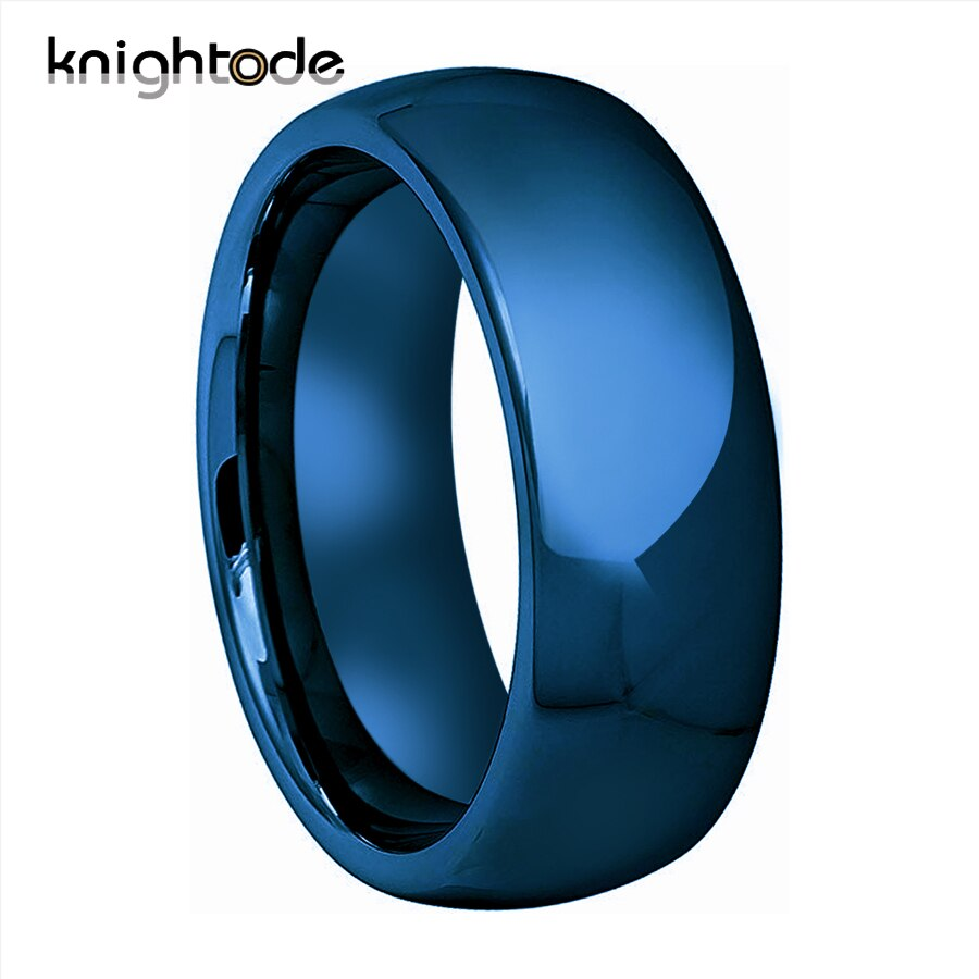 Fashion Blue Ring 100% Pure Tungsten Carbide Rings For 6mm 8mm Men Women Wedding Rings Dome Band Polished