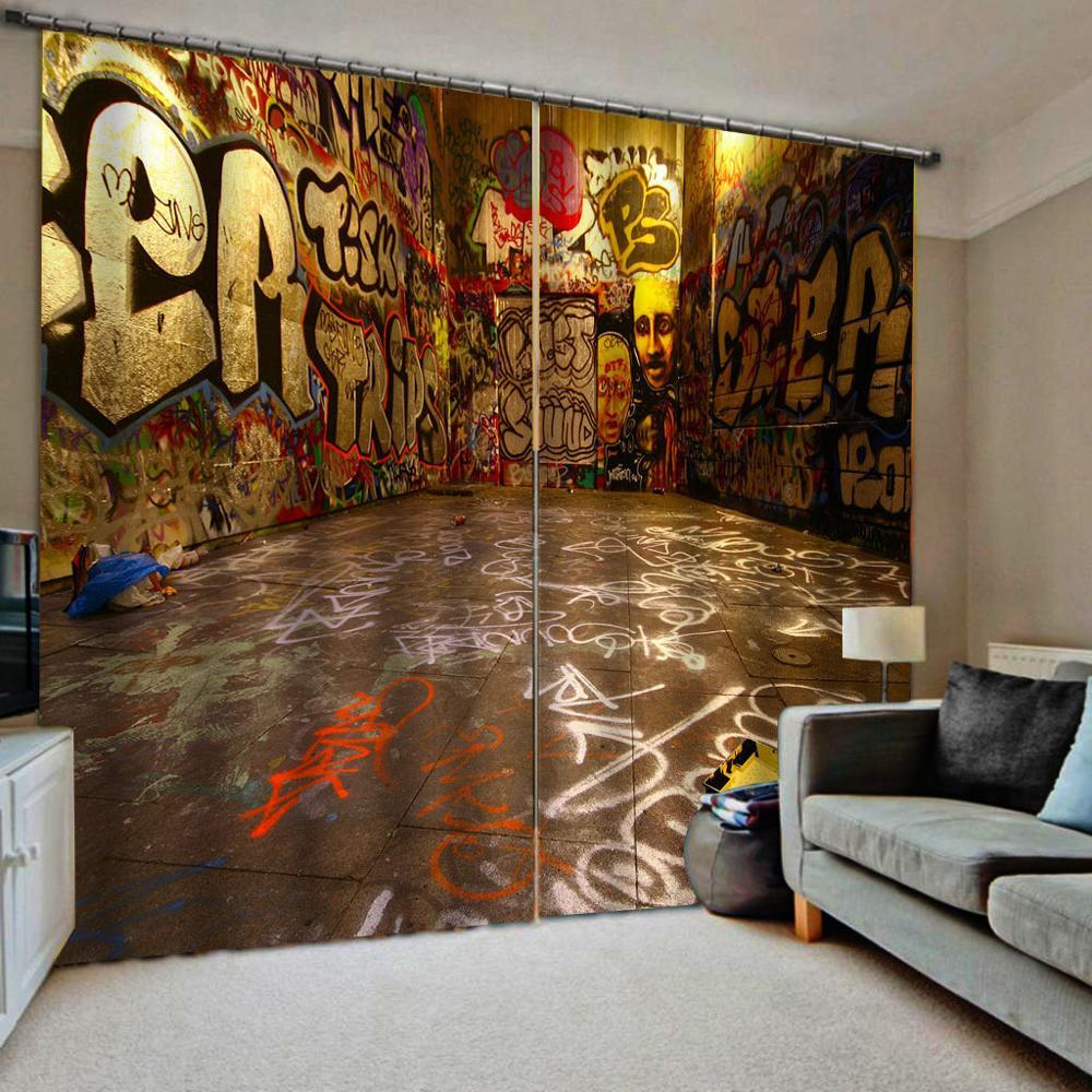 Personalizado 3d cortinas sala de estar estender espaço graffiti cortinas para o quarto das crianças dos meninos cortinas blackout para hotel ktv