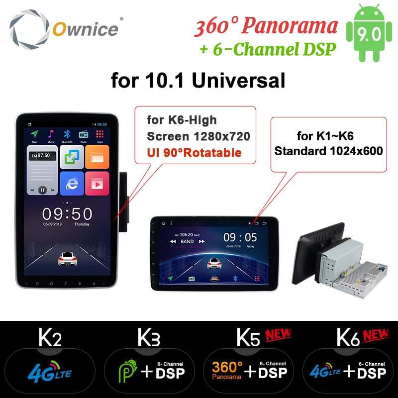 Ownice k3 k5 k6 giratorio 1280*720 Android9.0 Radio de coche 1/2 Din RECEPTOR ESTÉREO GPS 4G DSP 360 Panorama óptico reproductor Universal