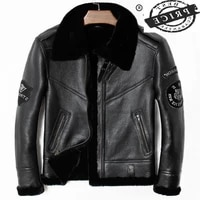 leather streetwear genuine jacket men jaqueta de couro 2021 real sheep shearling coat thick warm wool liner outerwear a01