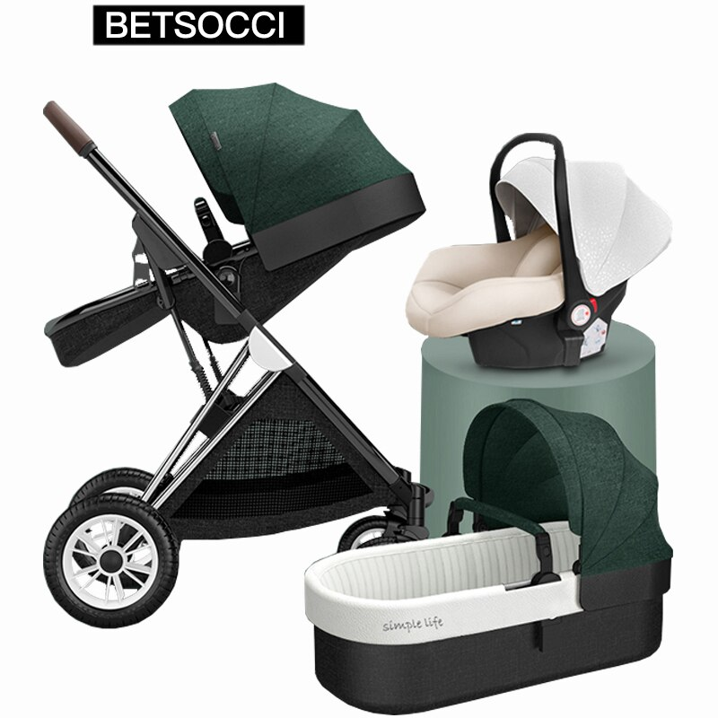 BETSOCCI Baby Stroller 3 in 1 High Landscape Foldable Baby Foldable Stroller Fashion Baby Infant  1High Landview Lying Baby Fold