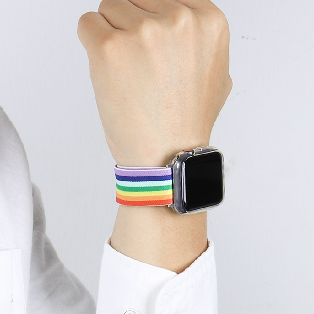 urvoi leather loop for apple watch series 3 2 1 band for iwatch comfortable feel soft leather strap with magnet buckle Soft and comfortable nylon Loop elastic buckle Apple watch band 38mm 42mm Series 6 SE 543 2 1 For iWatch Strap Nylon braid  44mm