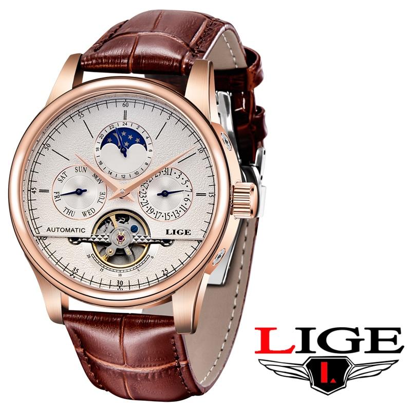 LIGE العلامة التجارية الفاخرة رجالي مقاوم للماء الساعات ، مجهزة عالية الجودة والجلود العسكرية الرياضة الميكانيكية ساعة Reloj Hombre