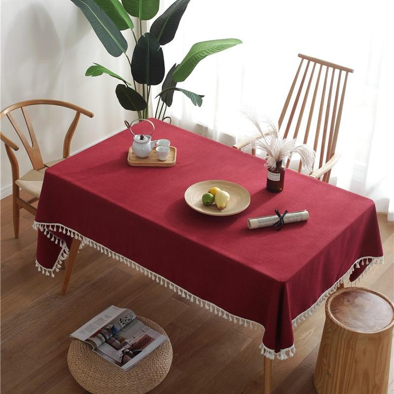Mantel para mesa de comedor con borla de algodón imitación, mantel nórdico...