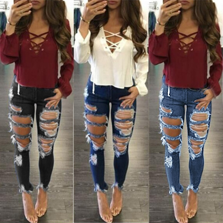 Ripped Jeans Ladies Stretch Wash Skinny Jeans Mid Waist Blue Pencil Pants Woman's Ankle Length Trousers Vintage Streetwear bleach wash lace trim ankle skinny jeans