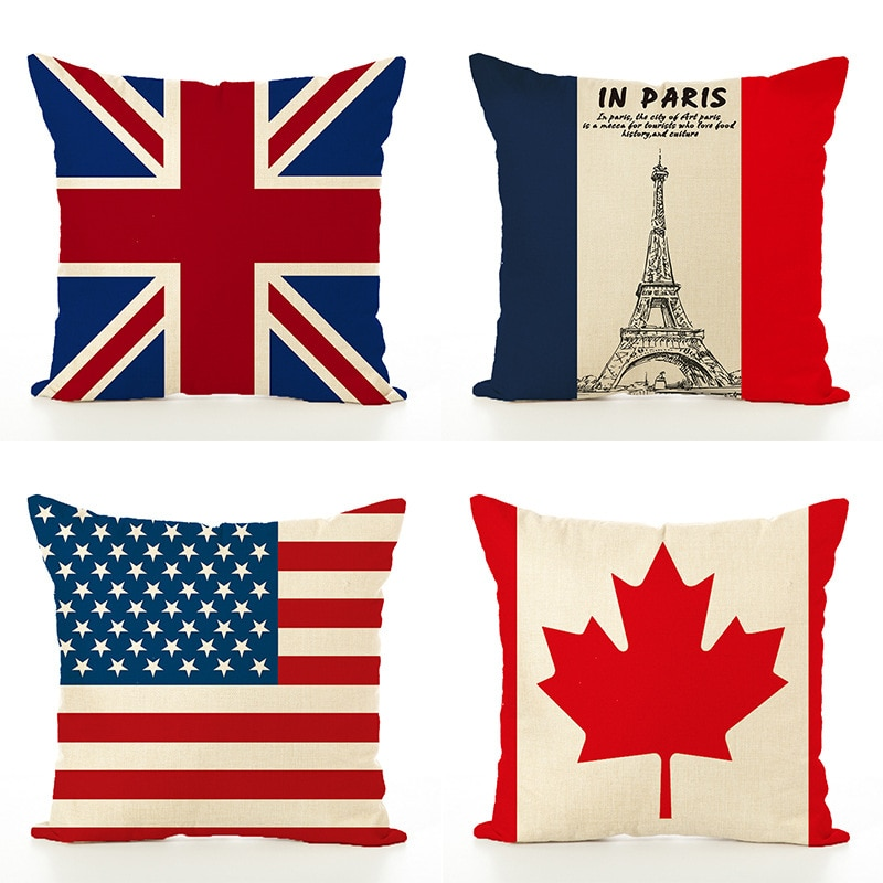 Наволочка для подушки ZENGIA, Канада, французская Америка, Франция, 45x45 см, декоративные подушки для дивана с флагом, наволочка для украшения дома